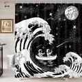 Funny Black White Shower Curtain, Astronauts Rowing in Ocean Great Waves Shower Curtain for Bathroom, Japanese Kanagawa Waves Art Shower Curtain for Bathroom, Cool Galaxy Space Shower Curtain, 70X70IN