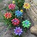 Eki Metal Flowers Outdoor Decor - Flower Garden Stakes - Metal Flowers Yard Art - Plant Pick Water Proof,Summer Yard Porch Decor,Yard Flowers,Indoor Outdoor Lawn Pathway Patio Ornaments (7PC)