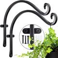 S-SNAIL-OO Incredibly Sturdy Hanging Plant Bracket(2 Pcs 14inches),Bird Feeder Hanger of Swivel Hanging, for Hanging Lanterns, Wind Chimes, Planters, Outdoor Decoration Hooks (Black)