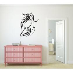 Darby Home Co Horse Silhouette Vinyl Wall Words Decal Sticker Equestrian Home Decor ArtVinyl in Black, Size 30.0 H in   Wayfair