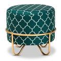 House of Hampton® Gosdon Glam & Luxe Red Quatrefoil Velvet Fabric Upholstered Gold Finished Metal OttomanVelvet, Size 14.57 H x 16.54 W x 16.54 D in