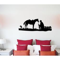 Darby Home Co Horse Silhouette & Cowboy Vinyl Wall Words Decal Sticker Equestrian Home Decor ArtVinyl in Black, Size 72.0 H in | Wayfair