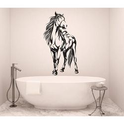 Darby Home Co Horse Silhouette Vinyl Wall Words Decal Sticker Equestrian Home Decor ArtVinyl in Black, Size 84.0 H in | Wayfair