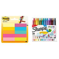 Sharpie S-Note Creative Markers, Highlighters, Assorted Colors, Chisel Tip, 24 Count & Post-it Page Markers, 1/2 x 2 in, Assorted Bright Colors, 50 Markers Per Pad, 10 Pack