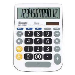 Basic Calculator Calculator, Standard Functional Desktop Calculator Solar and Battery Dual Power Electronic Calculator with 12-Digit Large Display Office and Home Calculator