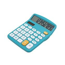 Basic Calculator Calculator, Electronic Calculator with 12 Digit Large Display, Solar Battery LCD Display Office Calculator Office and Home Calculator (Color : Blue)