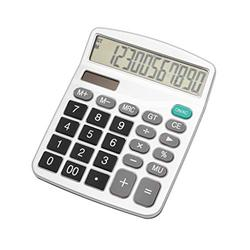 Basic Calculator Calculator, Electronic Calculator with 12 Digit Large Display, Solar Battery LCD Display Office Calculator Office and Home Calculator (Color : White)