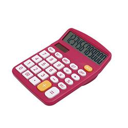 Basic Calculator Calculator, Electronic Calculator with 12 Digit Large Display, Solar Battery LCD Display Office Calculator Office and Home Calculator (Color : Red)