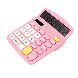 Basic Calculator Colorful Calculator Standard Functional Desktop Calculator Solar and Battery Dual Power Electronic Calculator with 12-Digit Large Display Office and Home Calculator (Color : Pink)