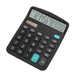 Basic Calculator Calculator, Electronic Calculator with 12 Digit Large Display, Solar Battery LCD Display Office Calculator Office and Home Calculator (Color : Black)