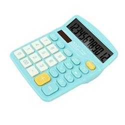 Basic Calculator Colorful Calculator Standard Functional Desktop Calculator Solar and Battery Dual Power Electronic Calculator with 12-Digit Large Display Office and Home Calculator (Color : Blue)