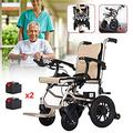 LJWJ Wheelchair Aluminum Electric Lightweight Wheelchair, Dual Function Can Be Opened in 1 Second, Foldable Mobile Footrest, Battery Life 15-20 Miles Electric or Manual Bus Travel Chair 17.72 inch Wi