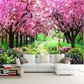 YTJBEI Photo Wallpaper Wall Mural -Cherry Blossom Path Non Woven Wall Mural Adults and Children Teen´s Room Office for Bedrooms 3D Mural Wall Decoration 300 X 210 cm