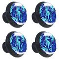 Seahorse Cute Blue Sea 4PCS Round Drawer Knob Pull Handle Cupboard Knobs with Screws for Home Office Kitchen Dresser Wardrobe Cabinet Round Furniture Knobs