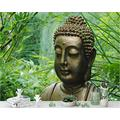 YTJBEI Photo Wallpaper Wall Mural -Bamboo Leaf Buddha Statue Non Woven Wall Mural Adults and Children Teen´s Room Office for Bedrooms 3D Mural Wall Decoration 300 X 210 cm