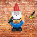 JINRS Garden Gnome Statue Bird Feeder, Funny Lawn Decoration Yard Garden Decor Bird Feeder Gnome Statue Figurine,Hanging Bird Feeder for Outside, Garden Decoration Yard (A)