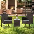 Attento 3 pcs Chairs Table Conversation Set Patio in/Outdoor Wicker Rattan Furniture Outdoor Patio Furniture Sets Patio Furniture Patio Set Table Set