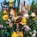 Fir ceda Clown Whirligig Windmills,Bee Girl Windmill Whirligig,Wooden Whirligig Windmills Garden Decor for Patio Lawn Yard Decor Bee Girl