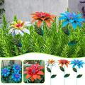 Yomiee Daylily Flower Garden Stakes Decor, Mother's Day Metal Daylily Flower Garden Stakes, Metal Flowers Outdoor Decor Yard Art Decoration for Lawn Patio (Blue+Orange+White)