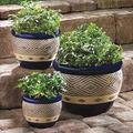 3 pc Set Blue Ceramic Garden Patio Planter Plant Flower Pot Flower Pot Plant pots Outdoor planters Planters Outdoor Plants Flower pots Flower pots Outdoor Plant Pot Large Outdoor planters Garden pots
