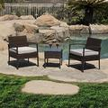 Attento 3 PCS Cushioned Outdoor Wicker Patio Set Garden Lawn Sofa Furniture Seat Brown Outdoor Patio Furniture Sets Patio Furniture Patio Set Table Set