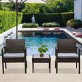 Attento 3pcs Wicker Rattan Patio Furniture Conversation Sofa Set Garden Outdoor Chairs Outdoor Patio Furniture Sets Patio Furniture Patio Set Table Set