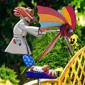 Fir ceda Clown Whirligig Windmills,Bee Girl Windmill Whirligig,Wooden Whirligig Windmills Garden Decor for Patio Lawn Yard Decor Clown