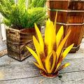"""Tequila Sculpture Statue Decor Agave Plant Metal Garden Ornaments Metal Agave Plant Rustic Sculpture Outdoor Statue Garden Yard Art Decoration Statue Home Decor for Garden Yard-Gold_25.6"""" Fan"""