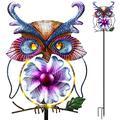 "Wind Spinner Outdoor Metal Owl Decor Garden Solar Lights 60"" Owl Solar Stake Light Warm White for Outdoor Wind Catcher Patio, Yard and Garden Decorations (Warm White)"