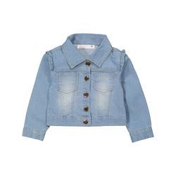 Young Hearts Girls' Denim Jackets BLUE - Light Wash Ruffle-Accent Denim Jacket - Toddler & Girls