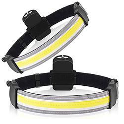 2 Pack Headlamp Flashlight, 2000 Lumens LED 220° Wide Beam Headlamp Lightweight Running, Fishing, Camping, and Outdoor Headlight Headlamps COB Bright Headlight Battery Powered Head Lamp