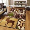 Personalized Native Deer and Moose in Pine Forest Rugs Carpet Living Room Floor Non-Slip Play Area Rug Decor Rug Bedroom Study Rugs Modern Kitchen New Year Gift 2x3 3x5 4x6 5x8 Area Rug