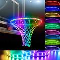 Hermard LED Basketball Hoop Light, Basketball Rim LED Light Solar Basketball Hoop Light, Light Up Basketball Hoop Glow in The Dark Basketball, Light Up Basketball Rim Basketball Rim at Night Outdoors