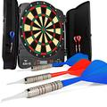 """Elemake Electronic Dartboard Cabinet Set with 13"""" Target Area, XO Cricket LCD Display with 6 Beginner Darts and 24 Dart Tips, 32 Games with 590 Variations, Dart Board Cabinet Doors with Darts Holders"""