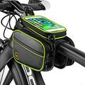 561PRODUCTS Bike Phone Front Frame Storage Bag - Waterproof Bike Phone Mount - Bike Phone Case Holder Accessories Cycling Pouch Compatible with iPhone 11 XS Max XR (Black+Green)