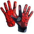 Eternity Gears Football Gloves - Tacky Grip Skin Tight Adult Football Gloves - Enhanced Performance Football Gloves Men - Pro Elite Super Sticky Receiver Football Gloves - Adult Sizes (X-Large, Red)