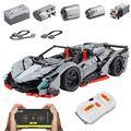 XDXDO Large Dynamic Racing Building Blocks, DIY Rc Super Sports Car Toy Building Blocks, Stem Remote Control Car Building Block Kit (3427Pcs) 58X24x15cm