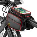 561PRODUCTS Bike Phone Front Frame Storage Bag - Waterproof Bike Phone Mount - Bike Phone Case Holder Accessories Cycling Pouch Compatible with iPhone 11 XS Max XR (Black+Red)