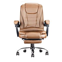 Big and Tall Office Chair Home Office Desk Chairs with Wheels Footrest and Arms for Living Room Lounge Space 42 Inches (Brown)