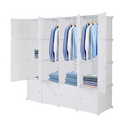 Mekek Large Cube Storage (16 Cubes) Portable Wardrobe Closet Dresser Cube Storage Shelf with 3 Clothes Hanger, White