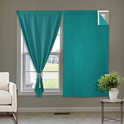 Macochico Self Sticky Curtains for Kitchen Window Shades Cost Saving Curtains Hang Without Rod Wall Panels, Self-Adhesive Drapes Set for Bedroom/Nursery, 42 inch by 63 inch, Turquoise, One Pair