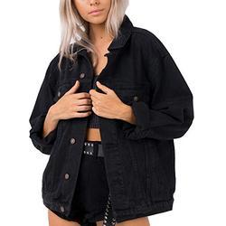 Jean Jacket Women Washed Denim Jacket (L, Oversized black denim jacket)