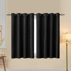 subrtex Embossed Solid out Thermal Grommet Curtain PanelsPolyester in Black, Size 63.0 H in   Wayfair SBTYAHCLBL01