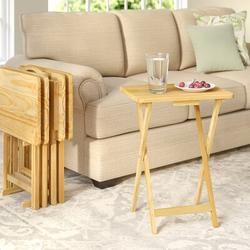 August Grove® Mischa TV Tray Table w/ Stand Wood/Solid Wood in Brown, Size 25.5 H x 19.25 W x 14.5 D in   Wayfair ATGR1193 25473825