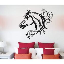 Darby Home Co Horse Silhouette Vinyl Wall Words Decal Sticker Equestrian Home Decor ArtVinyl in Black, Size 24.0 H in | Wayfair