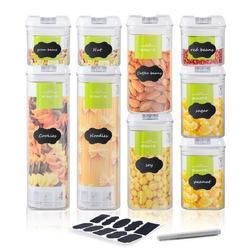 Prep & Savour 9PCS Black Lid Food Storage Container Set Sealed Food Storage Container in White, Size 16.2 H x 4.13 W x 12.59 D in   Wayfair