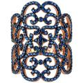 Countess Filigree Cocktail Ring Sapphire Blue Rose Gold - Blue - Latelita London Rings