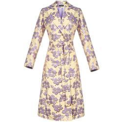 Vanilla Jacquard Coat - Green - Andreeva Coats