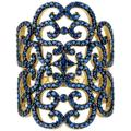 Countess Filigree Cocktail Ring Sapphire Blue Gold - Blue - Latelita London Rings
