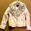 Jessica Simpson Jackets & Coats | Faux Leather Fur Collar Jacket | Color: Cream | Size: 14g